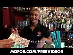 Gorgeous blonde bartender talked