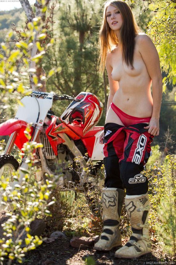 Dirt bike babe topless