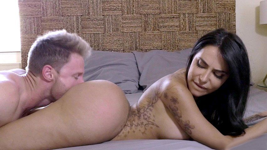 Licking naked latinas butt